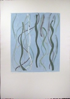 "Blue Green Warp 1, monoprint, 44x30"", 2014."