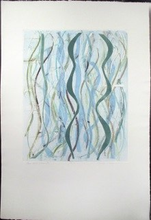 "Blue Green Warp 4, monoprint, 44x30"", 2014."