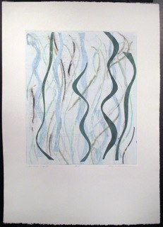 "Blue Green Warp 3, monoprint, 44x30"", 2014."