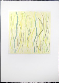 "Yellow Warp 1, monoprint, 44x30"", 2014."