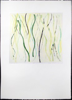"Yellow Warp 4, monoprint, 44x30"", 2014."