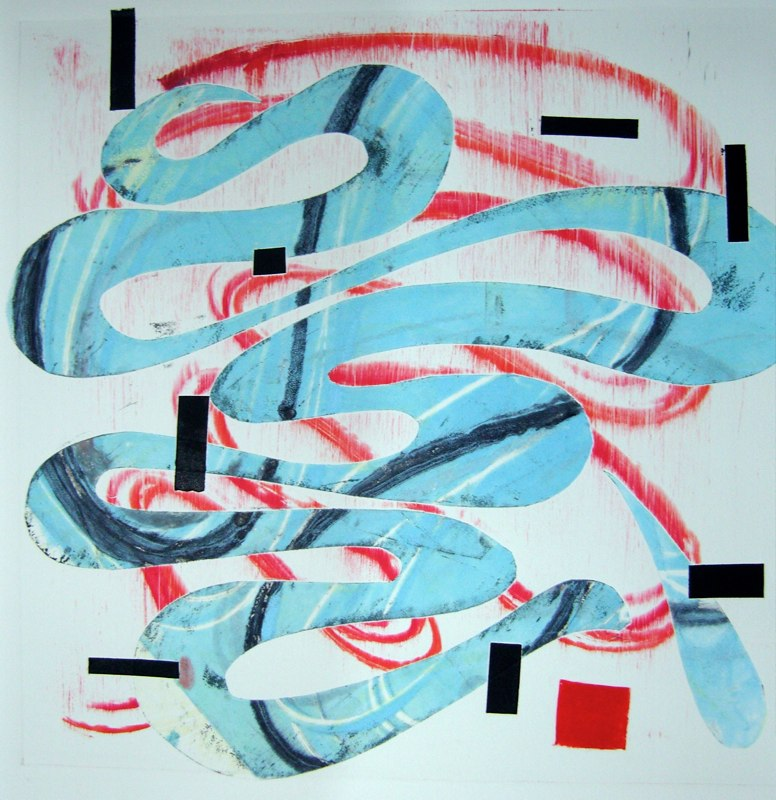 Candy Strip Curve, monoprint, 22x22 inches