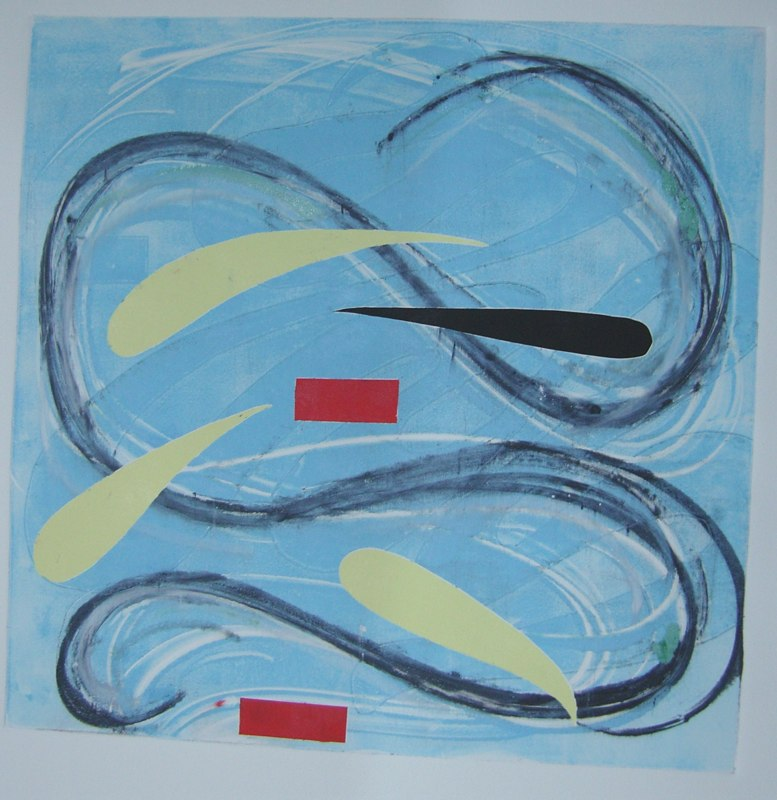 Yellow Drop Curve, monoprint, 22x22 inches.