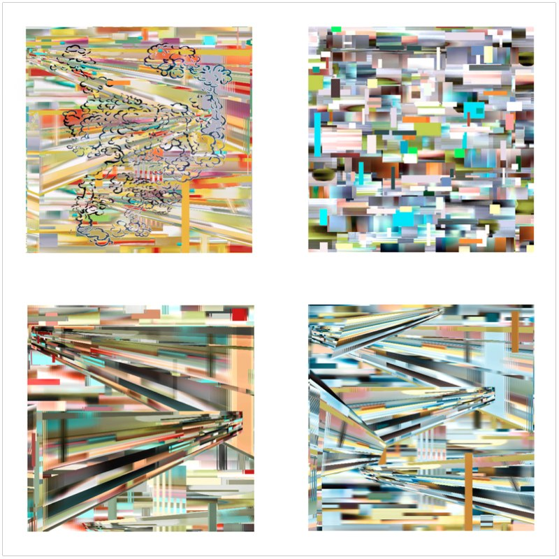 Transit Skew Series, set of four prints, 16x16 inches (each), pigment print, 2010-11.