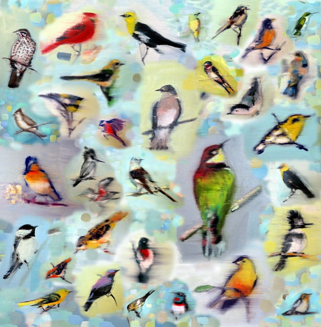 Blue With Birds, archival pigment print on rag,  31.5x31.5 inches, 2005.