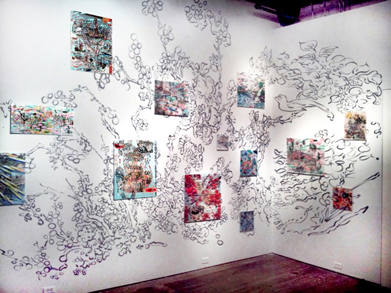 The Op Forest, Sumi ink on wall with 3D lenticular prints, dimensions vary, 2010