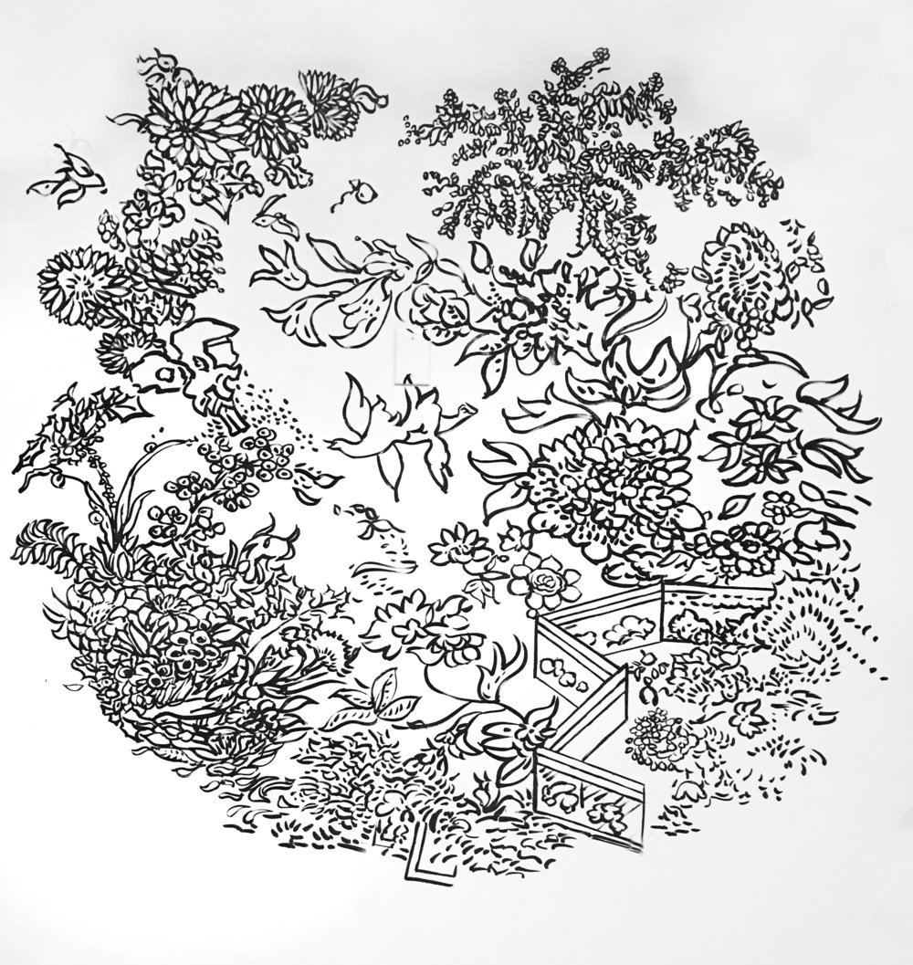 "Utopia Garden , 201x92"", ink and acrylic on wall, 2015. Private Collection."