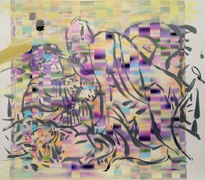 "Eros Deux  , acrylic on pigment print  , 17x  21"",2011."
