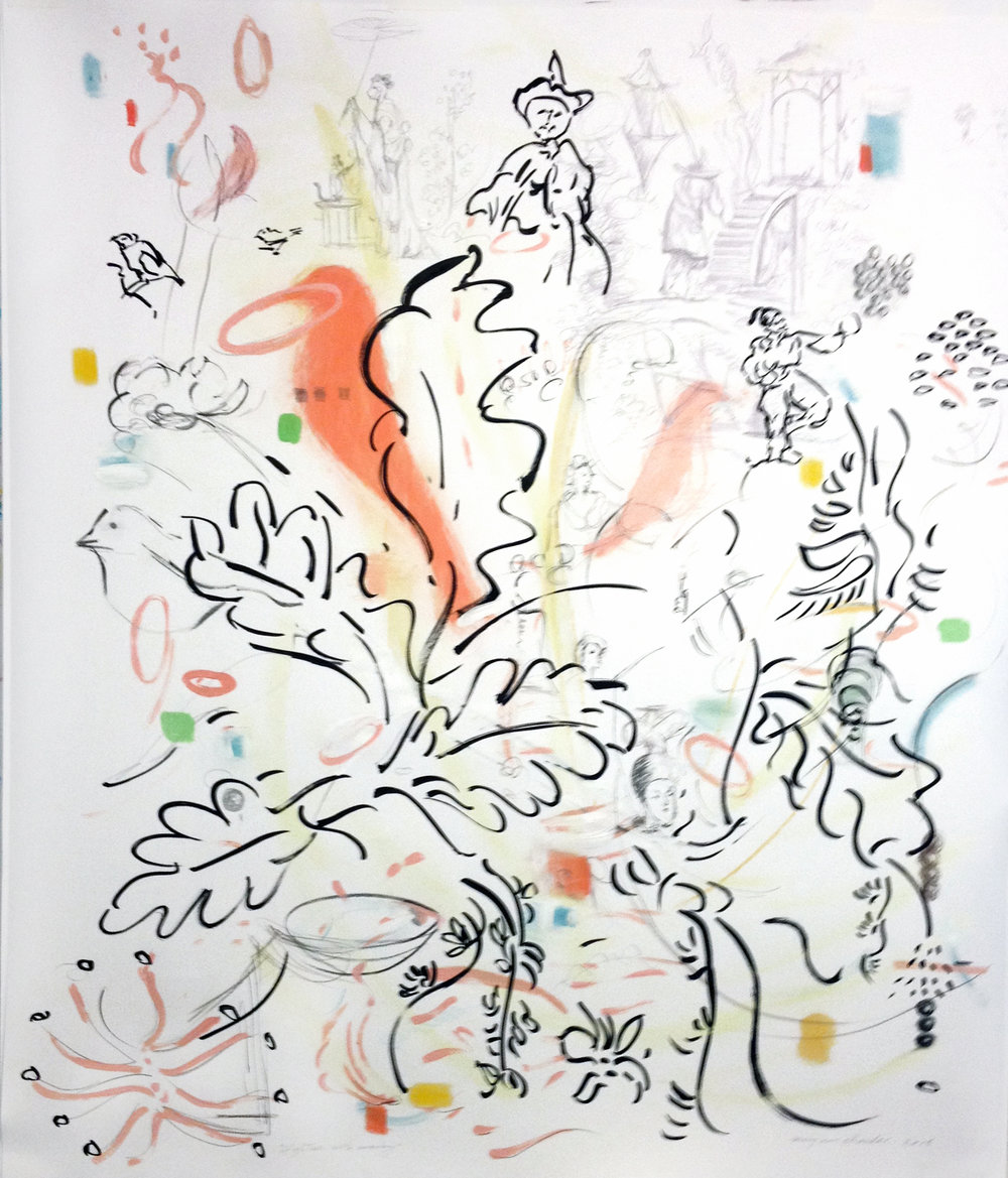 "Drawing with Chinoserie and Pods , 40x32"", ink, graphite, acrylic on paper, 2014."