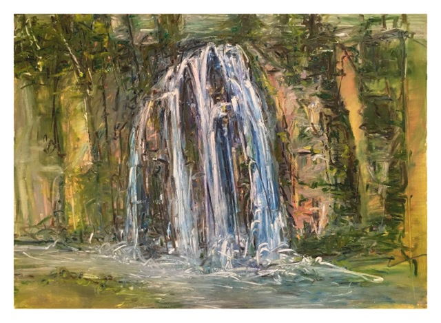 "Waterfall Spearfish,  oil on paper,   29x41"","