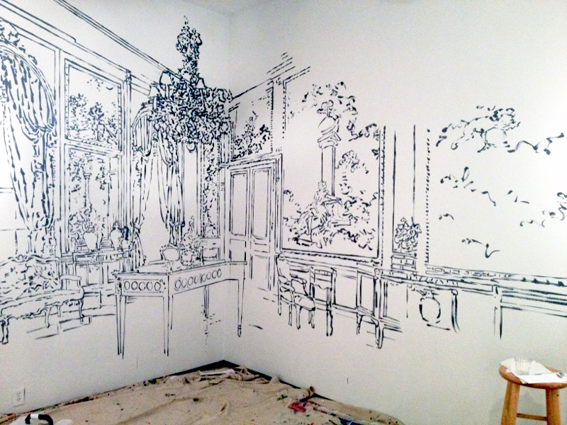 The Fragonard Room , ink on wall, Second Street Gallery, Charlottesville, VA, 201.