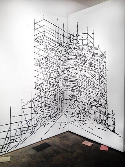 "Duomo with Scaffolding (Florence) , ink on wall,  96x100"",  Re-Material Exhibition, VA, 2014."