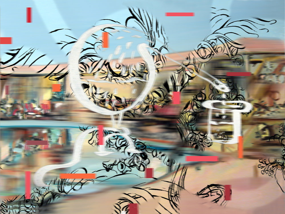 "Pool Drip , 3d Lenticular Print on Sintra,   27x36"",2007"