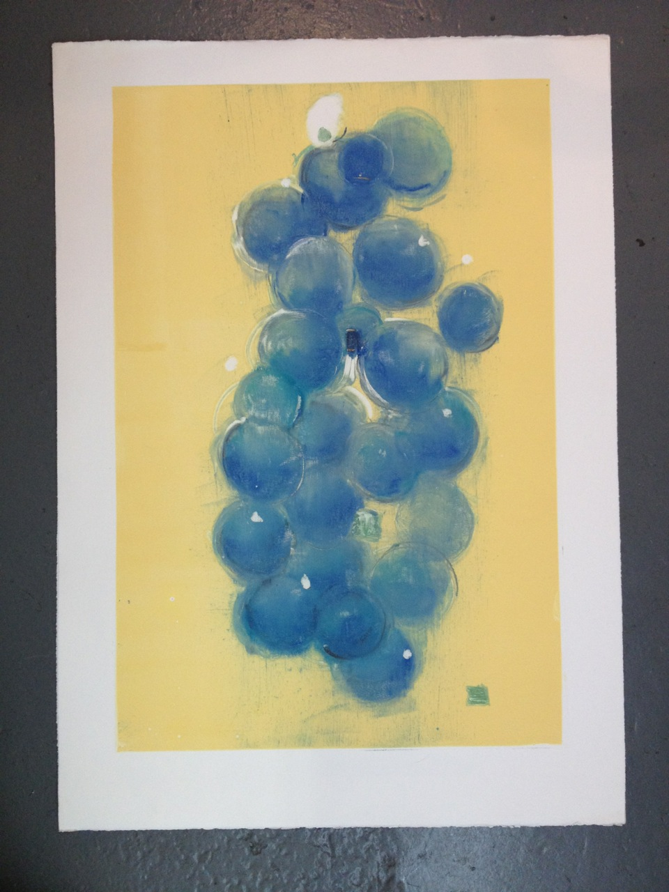 "Plum on Yellow I, monoprint, 34.5"" x 24.5"", 2012."