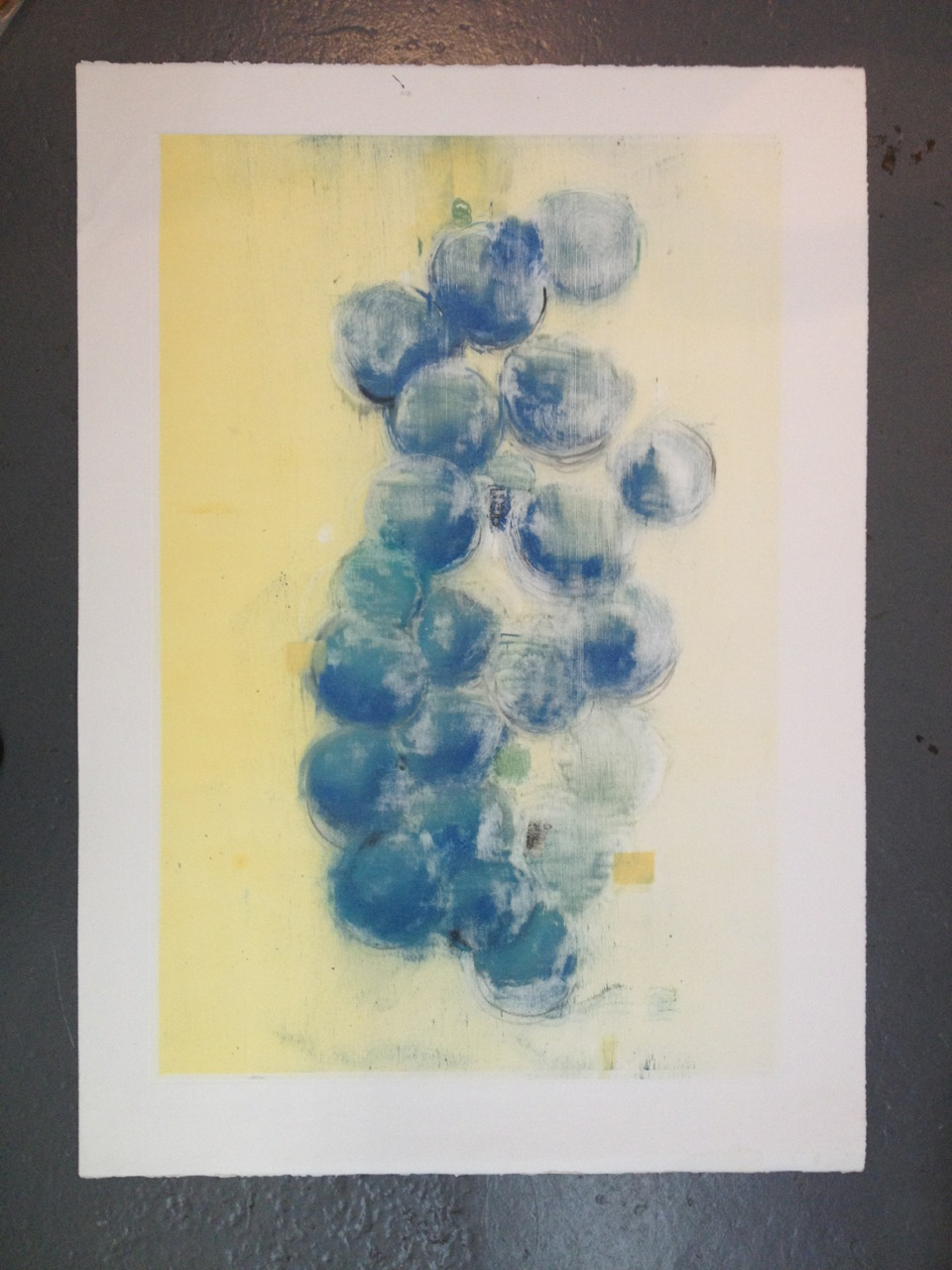 "Plum on Yellow II, monoprint, 34.5"" x 24.5"", 2012."
