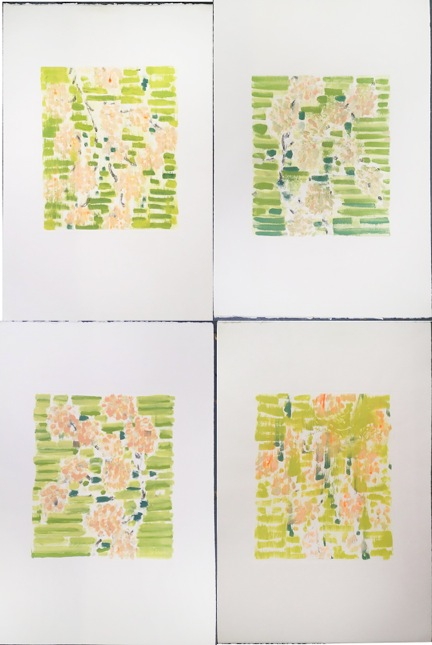 "Strip Bloom I - IV, monoprint series, 30x22"", 2001."