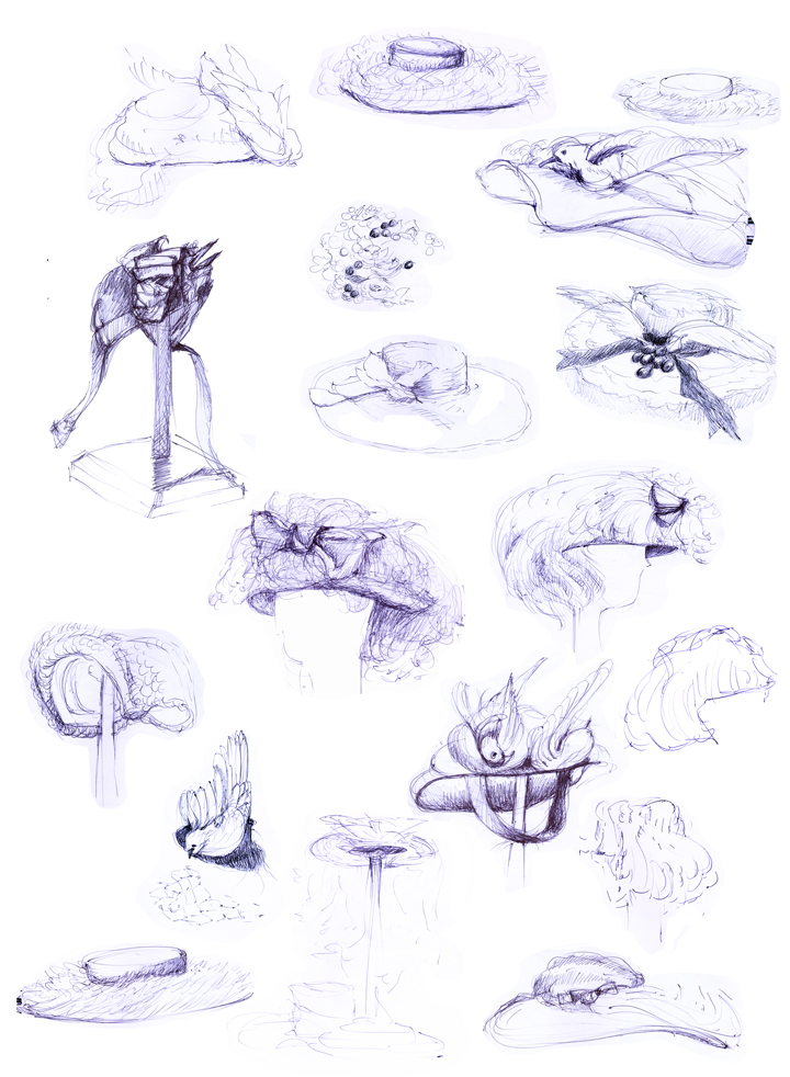 "Loula's Hats  (from KC Museum selection), 12"" x 8"", ballpoint on paper, 2008"