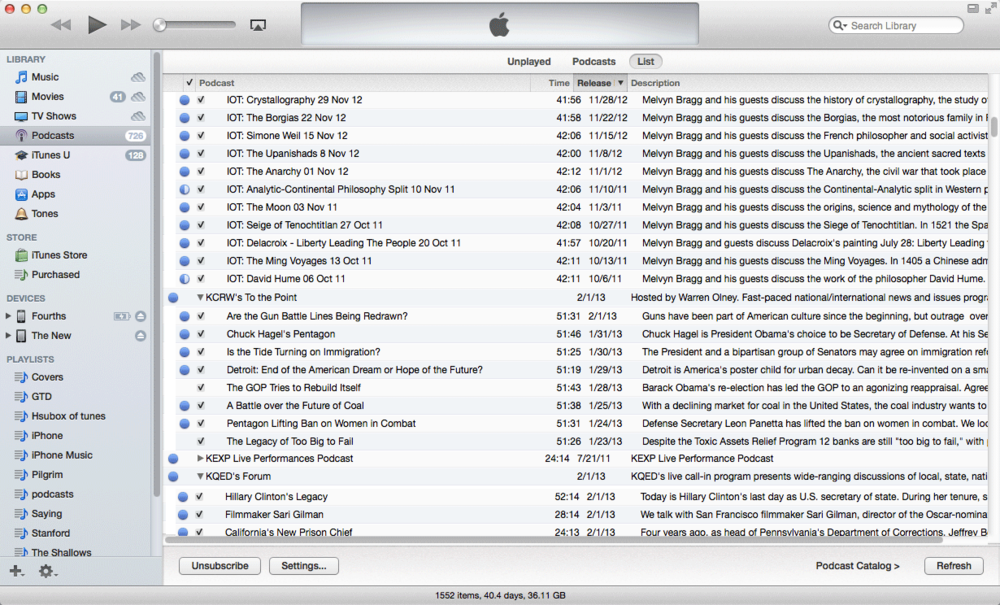 Indented iTunes List View