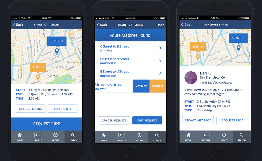 Context-aware matching feature suggests ride sharing based on existing transit patterns. Final visual design of prototype in partnership with Stephanie Snipes.