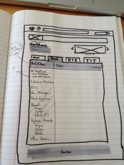"Original sketch of faceted browsing feature for the Clorox Professional web site. The ""?"" signifies ""we need to do some user research to find the right categories here."""