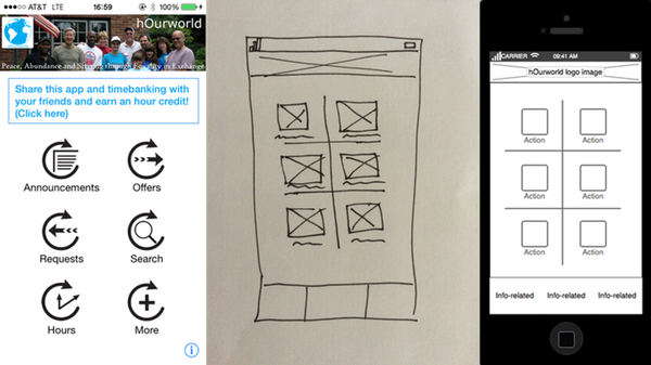 Existing app (left), initial sketch (center), Balsamiq (right)