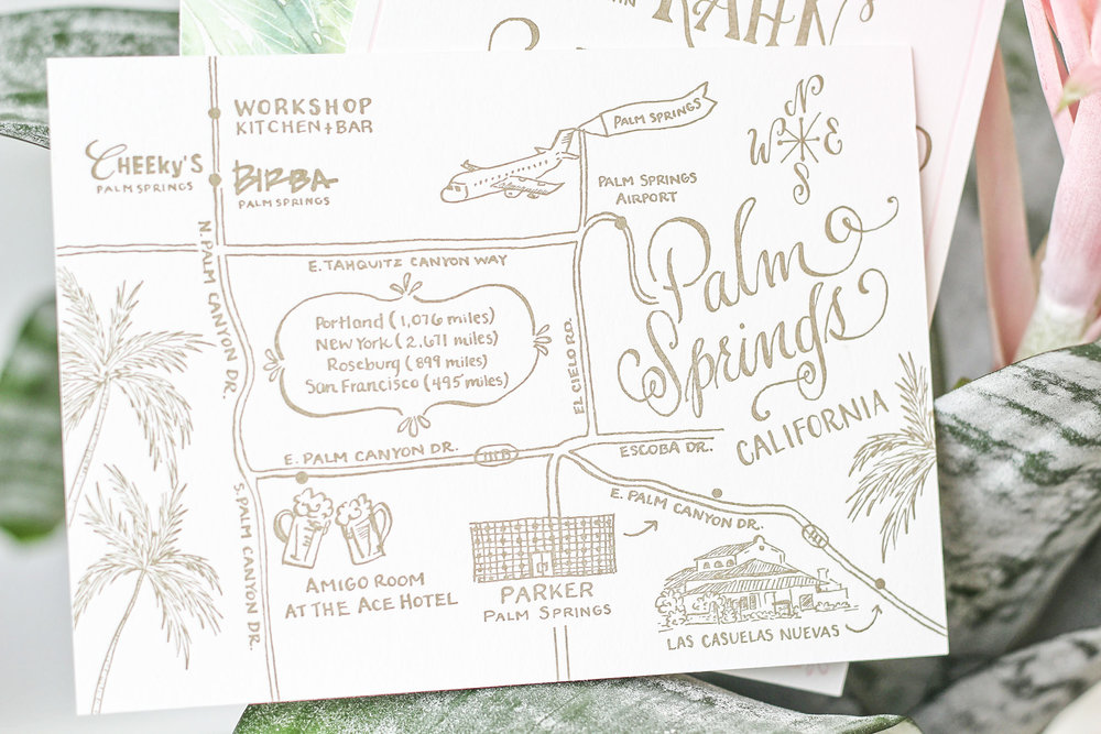 Palm Springs Map by Kara Anne Paper