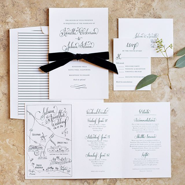 Classic black and white wedding suite for a gorgeous @sunstonewinery wedding! As seen on @weddingchicks. #karaanne_paper #weddingchicks #weddingmap #weddinginvitations #santaynezwedding #californiawedding #sunstonevillawedding