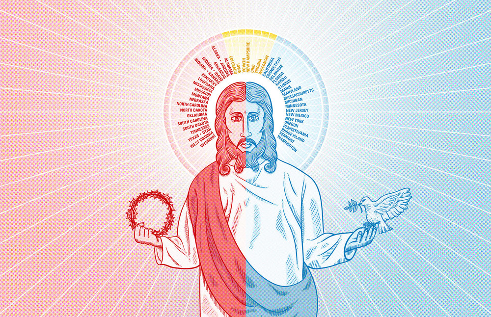 Red State/Blue State Jesus — Illustration for a CNN article about how popular conceptions of Jesus differ in red states and blue states. Copyright © 2012 Cable News Network. Turner Broadcasting System, Inc. All rights reserved.