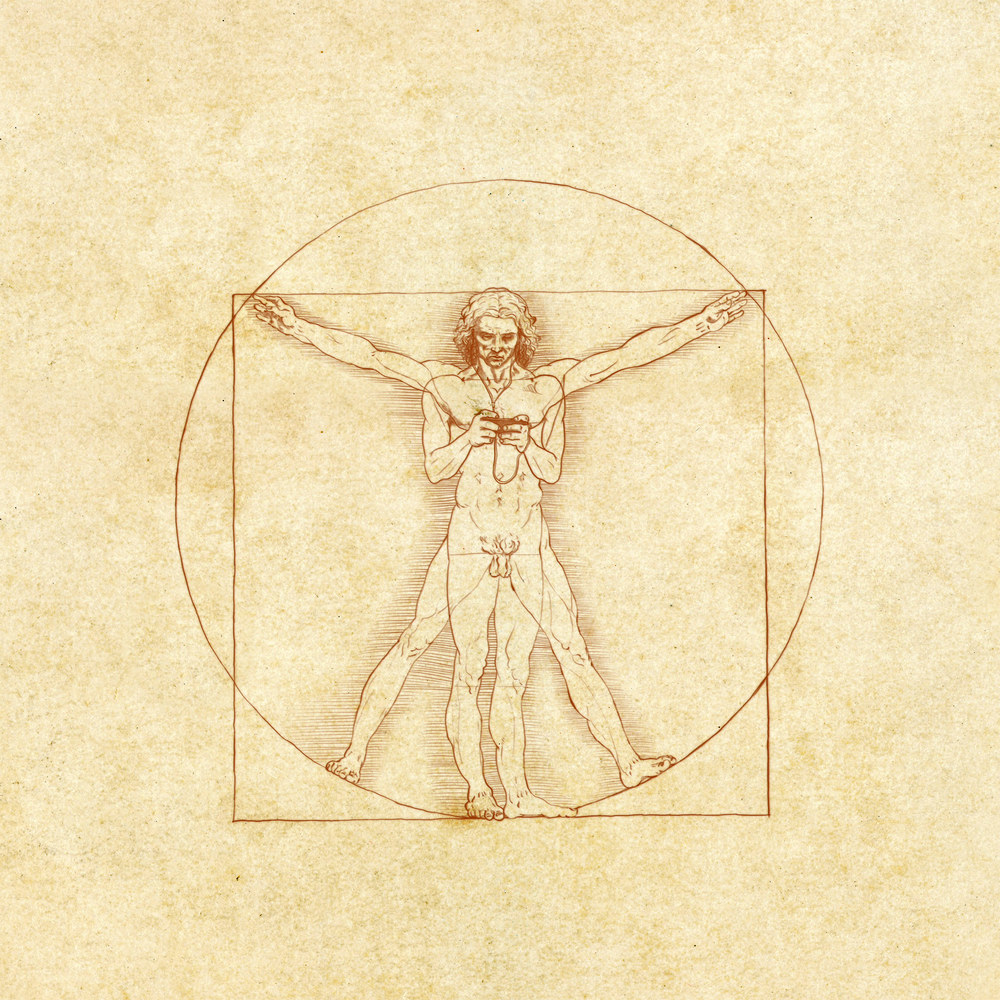 The Vitruvian Texter — Illustration for a CNN article about how smartphones have become extensions of ourselves. Copyright © 2012 Cable News Network. Turner Broadcasting System, Inc. All rights reserved.