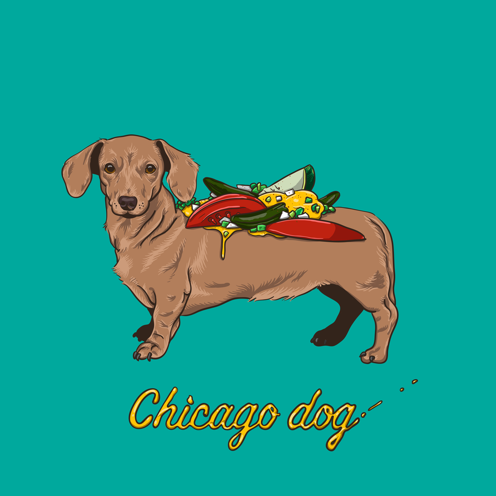 Chicago Dog — Self-initiated t-shirt design.  Buy the t-shirt here