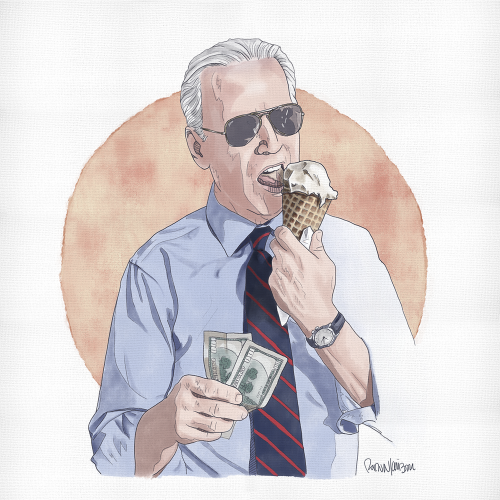 Biden, Ice Cream Man — Self-initiated illustration of Vice President Joe Biden buying ice cream