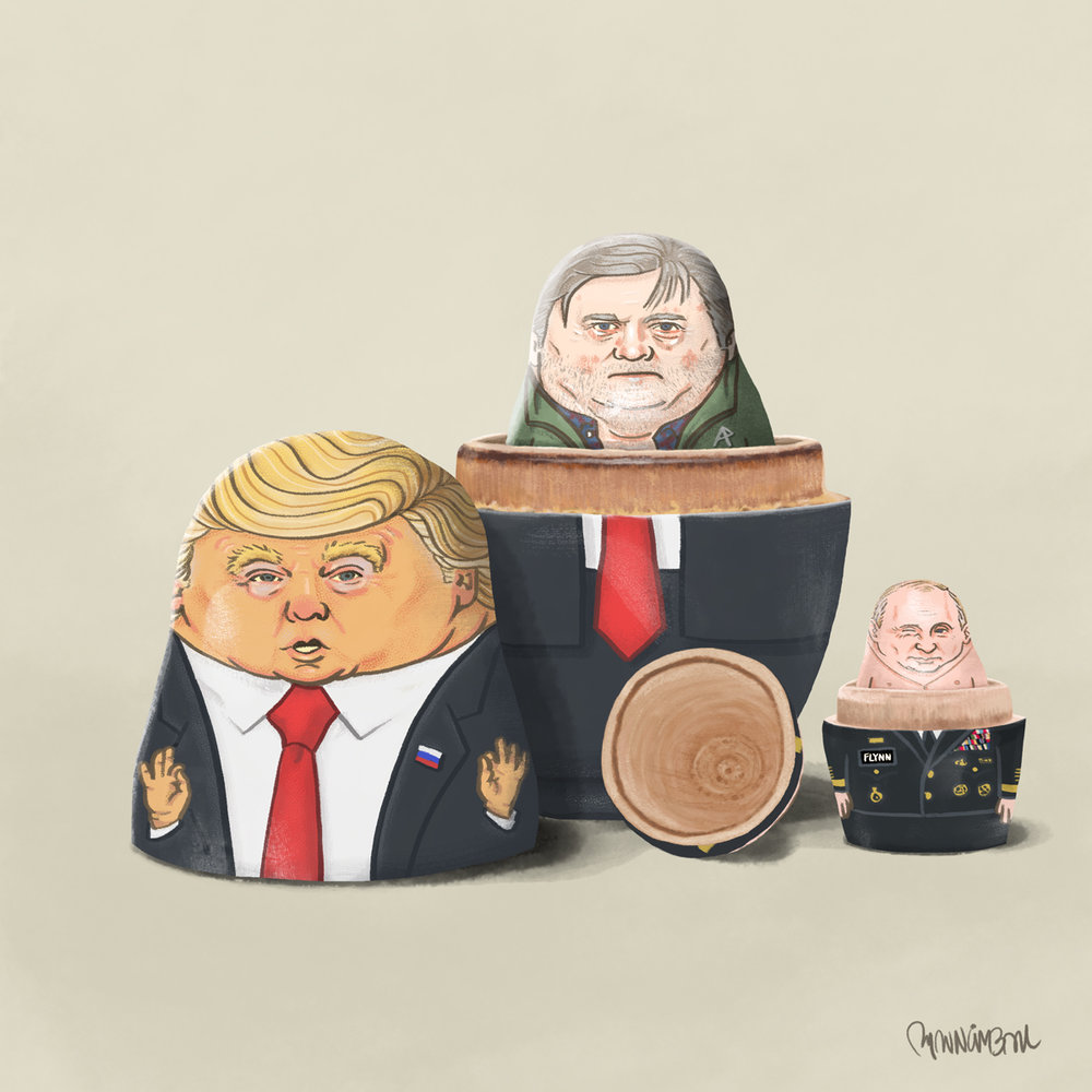 President Trump Nesting Dolls — Self-initiated illustration of Donald Trump, Steve Bannon, and Vladimir Putin