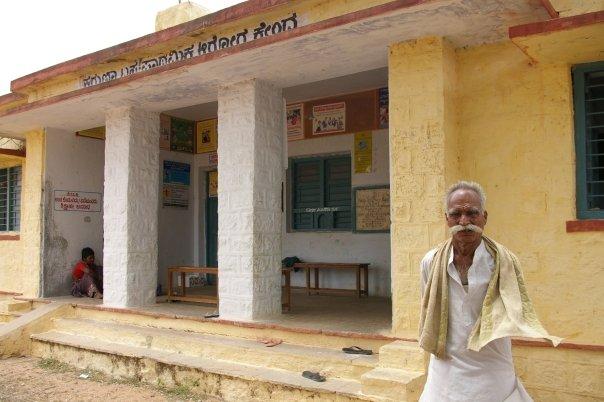Man outside one of the clinics we visited in Karnataka