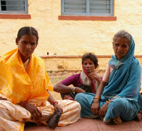 Women waiting outside a clinic in Karnataka