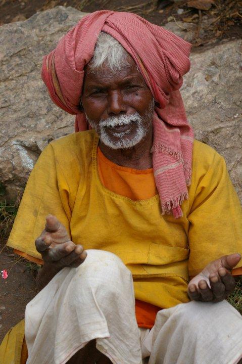 Man on the hillside - picture taken when climbing to Gautama Buddha's cave - outside Bodhgaya, Bihar