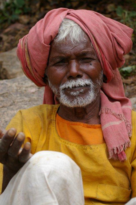 Man on the hillside - picture taken while climbing to Gautama Buddha's cave - outside of Bodhgaya, Bihar