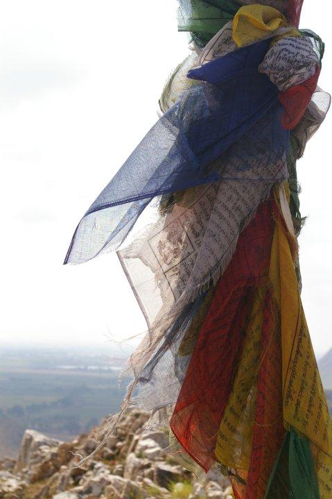 Prayer flags on top of the mountain of Buddha's cave - Bodhgaya, Bihar