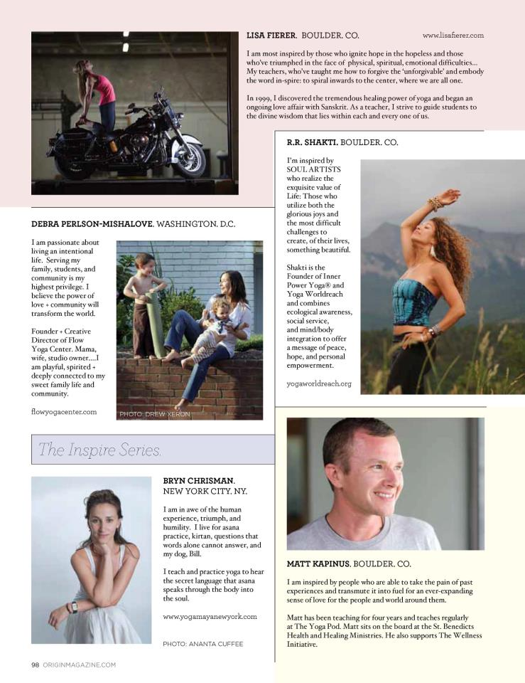 Our dear yogi friend R.R. Shakti in Origin Magazine, featured in the 'Leaders Who Inspires'  series, Oct 2012 * Magazine distributed through stands at WholeFoods * Image by Thirdeye Visionaries