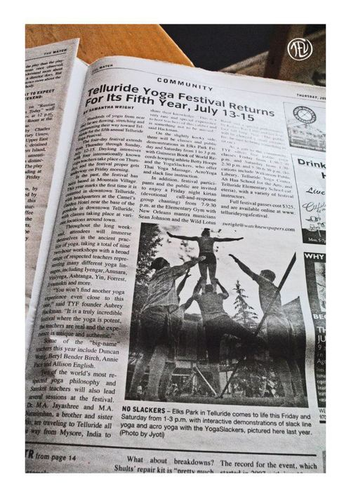 Telluride Yoga Festival in the local newspaper The Watch, 2012 * Image by Jyoti of Thirdeye Visionaries