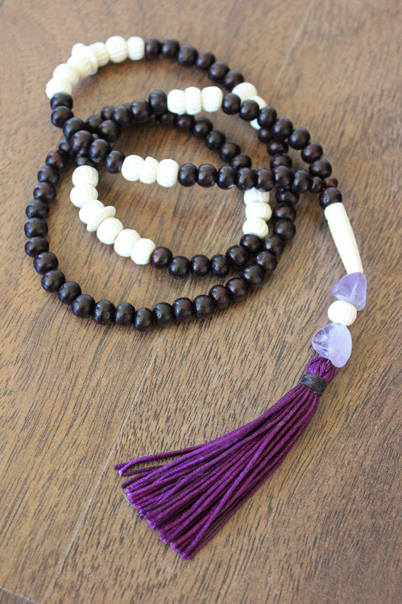 Rosewood mala   (This No Mind Mala is called Natural Mystic and holds Rosewood, carved Bone and Amethyst)