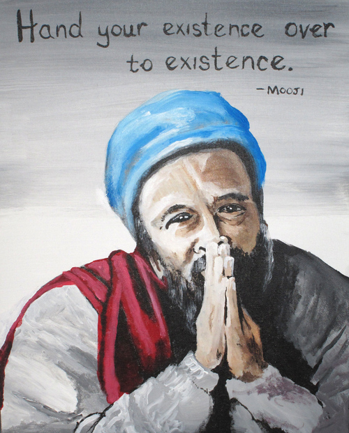 MOOJI Art by Jyoti     A painting in honor of the Non-Dual Spiritual Teacher named Mooji, with one of his quotes.     Material: Acrylic on canvas.       ORIGINAL: SOLD   PRINTS: Available by request - lots of options! Please contact thirdeyevisionaries@yahoo.com for more information.