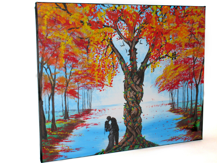 THE LOVING TREE  Art by Jyoti     Made on Valentines Day, 2013. The hidden embrace of two lovers creating a tree, the kiss between two faces hidden in the branches, and the couple of love birds add to the romantic scene of two young lovers by the edge of the water in the fall.     Material: Acrylic on canvas.     ORIGINAL: SOLD  PRINTS: Available by request - lots of options! Please contact thirdeyevisionaries@yahoo.com for more information!