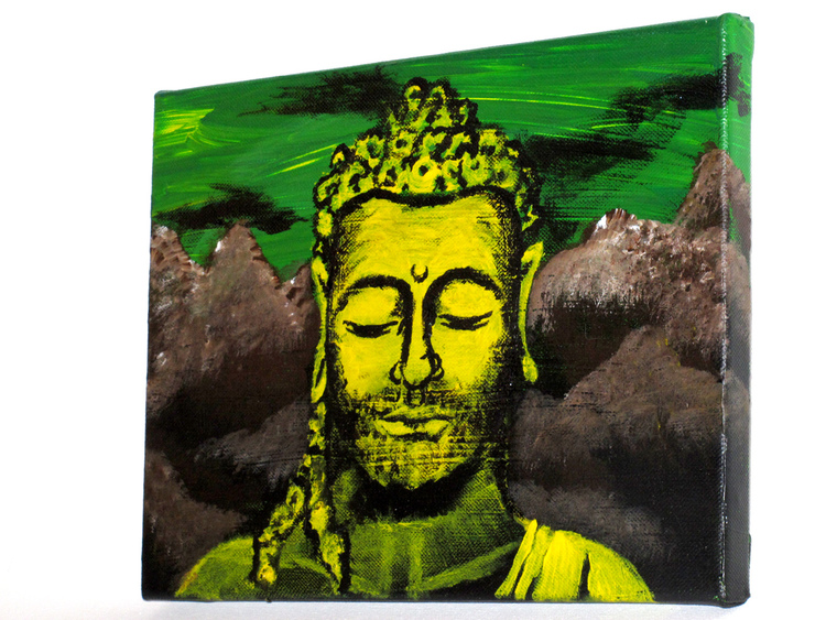 MOUNTAIN BUDDHA Art by Jyoti     A slight deviation from the traditional Buddha.. Maybe a Punk, or Hippy, or New Age Buddha..     Material: Acrylic on canvas Dimensions: 6 in x 9 in       ORIGINAL: $50 PRINTS: Available upon request - lots of options! Please contact thirdeyevisionaries@yahoo.com for more information.