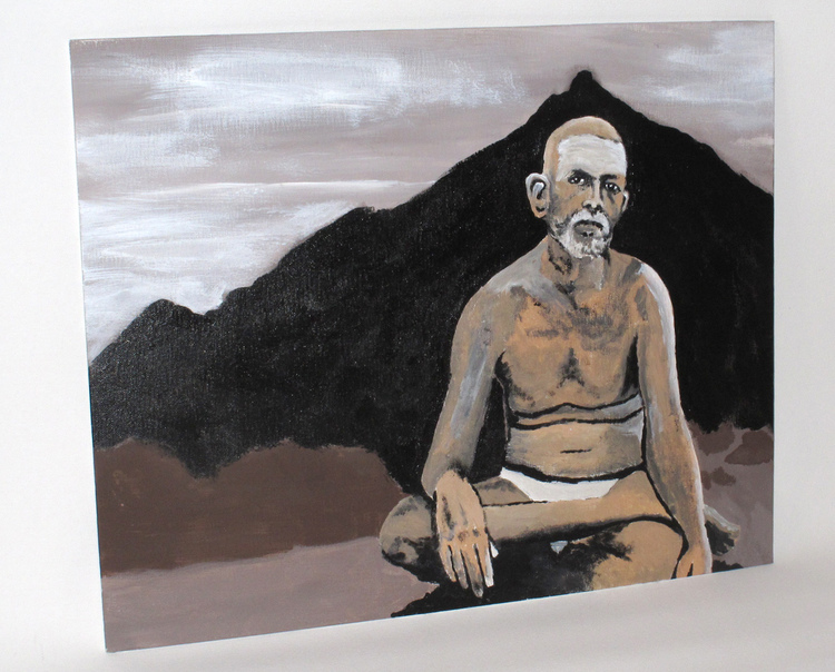 RAMANA MAHARSHI Art by Jyoti     A painting dedicated to the Indian spiritual teacher Ramana Maharshi and his beloved Mountain Arunachala.     Material: Acrylic on canvas      ORIGINAL: SOLD  PRINTS: Available upon request - lots of options! Please contact thirdeyevisionaries@yahoo.com for more information.