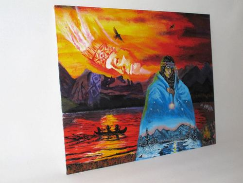 MOTHER EARTH AND FATHER SKY Art by Jyoti     The painting was made with the intention to capture the essence of how the artist has been influenced and inspired by the Native American Indian culture. Also inspired by other native american art.   Material: Acrylic on canvas.     ORIGINAL: SOLD  PRINTS: Available by request - lots of options! Please contact thirdeyevisionaries@yahoo.com for more information.