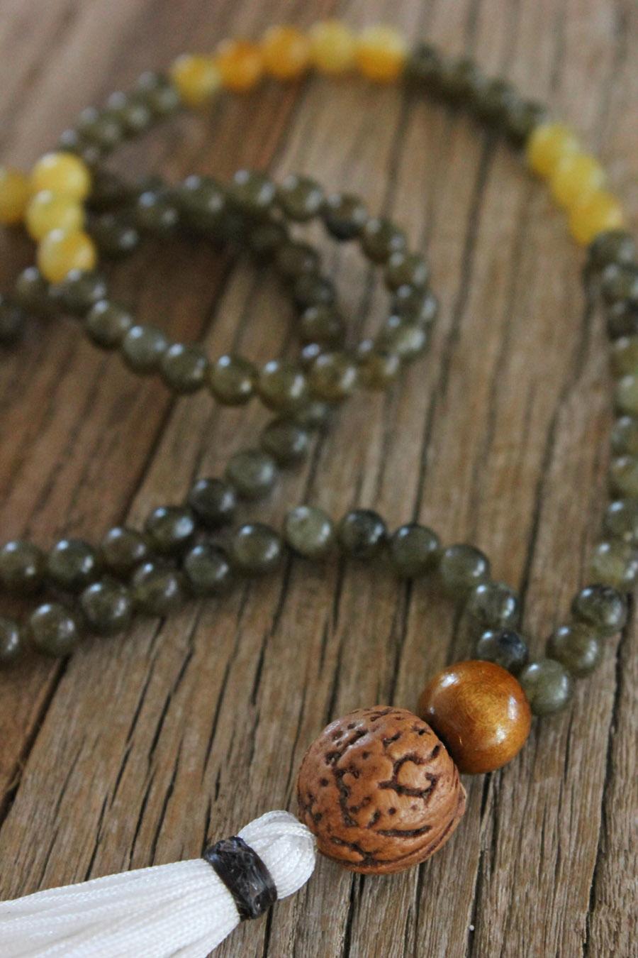 Green Labradorite, Serpentine and Peach Seed