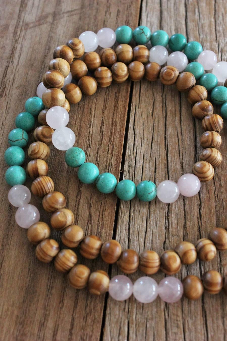 Tibetan wood, Turquoise Howlite and Rose Quartz