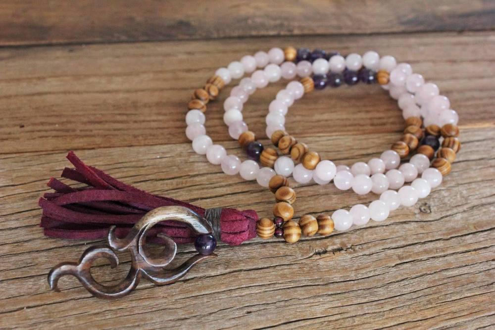 Rose Quartz, Amethyst, Tibetan Wood, Tribal charm on purple suede tassel - made with love!