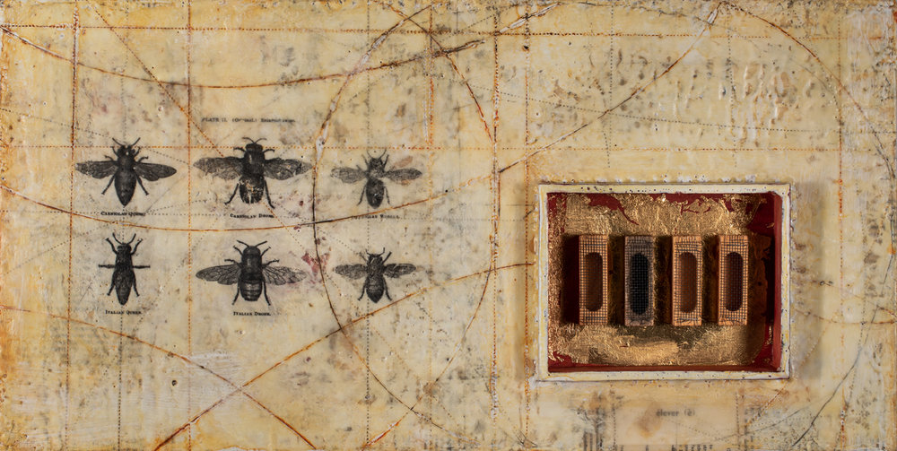 GGautreau.MakingOfAQueen.encaustic,queencages, goldleaf, mixed media on panel. 12x24%22, 2018.jpg