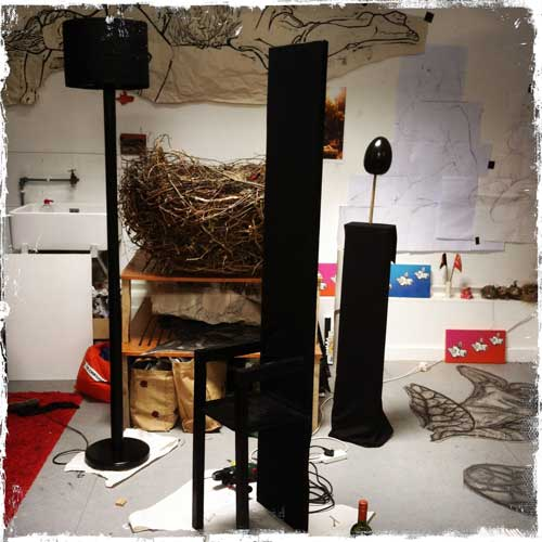 Props in the studio ready to go for Metamorphosis shoot,Stills in TIme photography, including the Nest in background